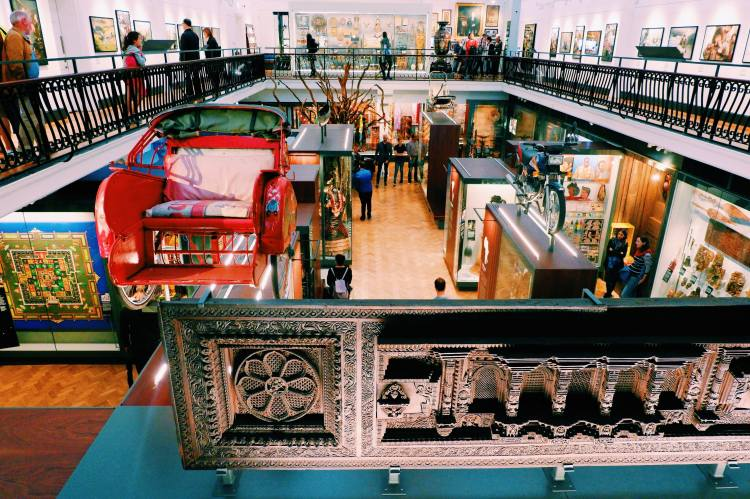 The World Gallery in The Horniman Museum and Gardens. Photo is from the upper balcony looking down the to collection