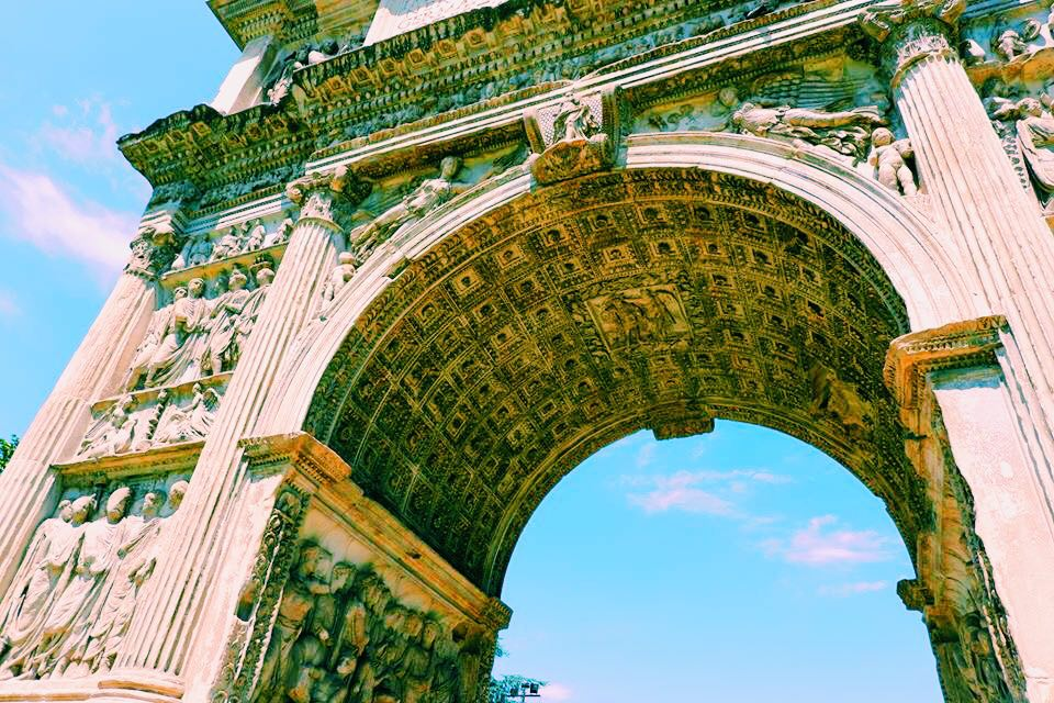 The Arch of Trajan in Benevento Campania. View from below the arch showing the panels and friezes