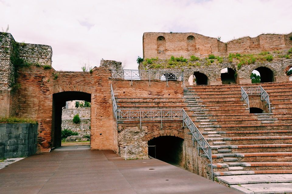 The Roman Theatre in Benevento Campania. View from the stage with the seating