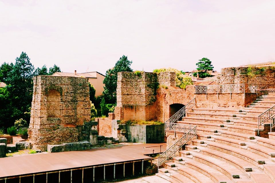 The Roman Theatre at Benevento Campania. View from the seating area looking down onto the stage