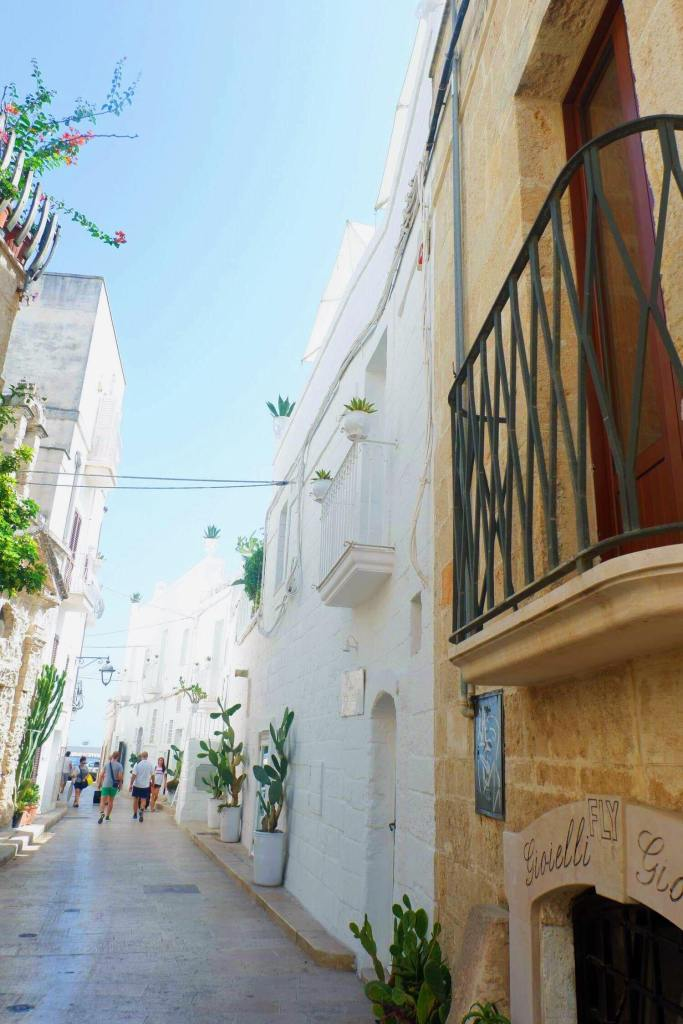 """A street in Monopoli, Puglia. At the forefront on the right is a yellow sandstone building with balcony and sign saying """"Gioielli"""". The street is lined with white washed buildings. in front of each building is tall cacti."""
