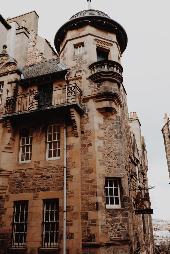 The brown three story building of the Writers Museum on Lady Stairs Close, off of the Royal Mile, Edinburgh
