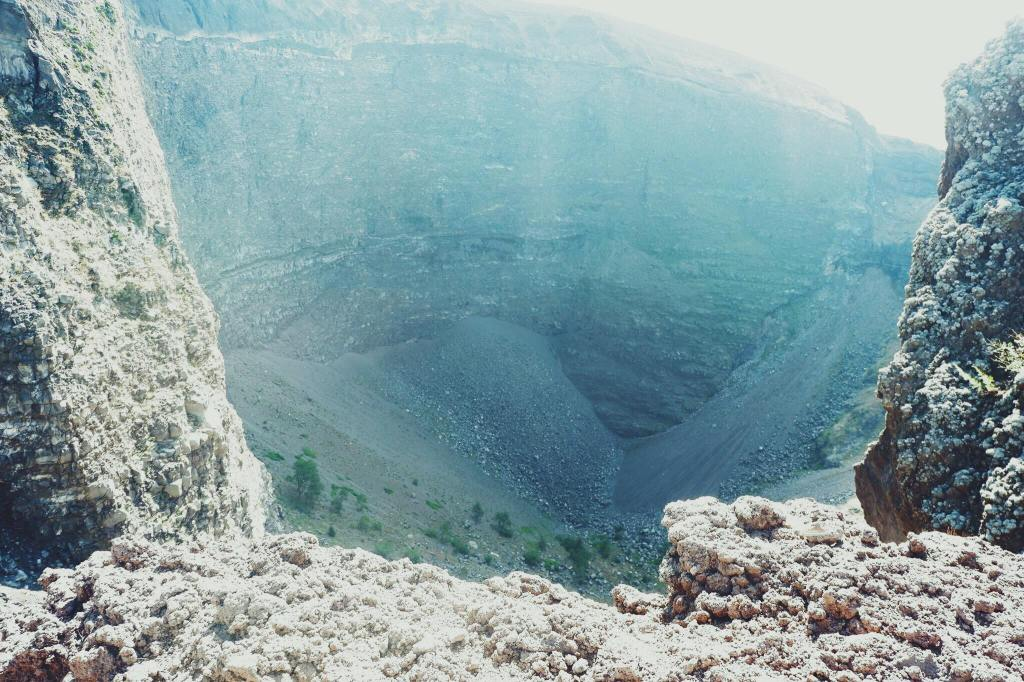 The crater at the top of Vesuvius in Naples.