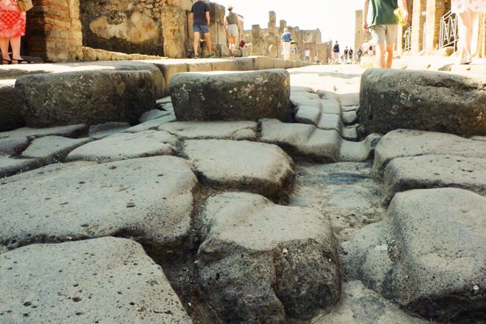 The paths at Pompeii with grooves from carriages and stepping stones.