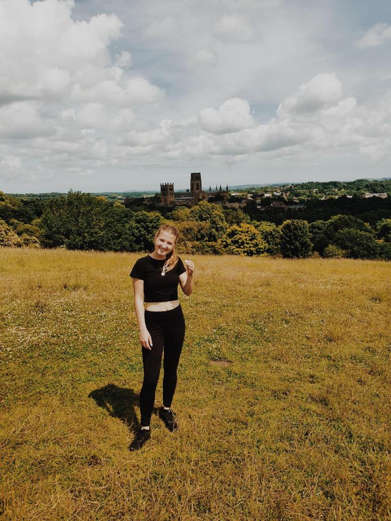 Emily (The Heritage Tourist) at the top of Observatory Hill, overlooking Durham City.