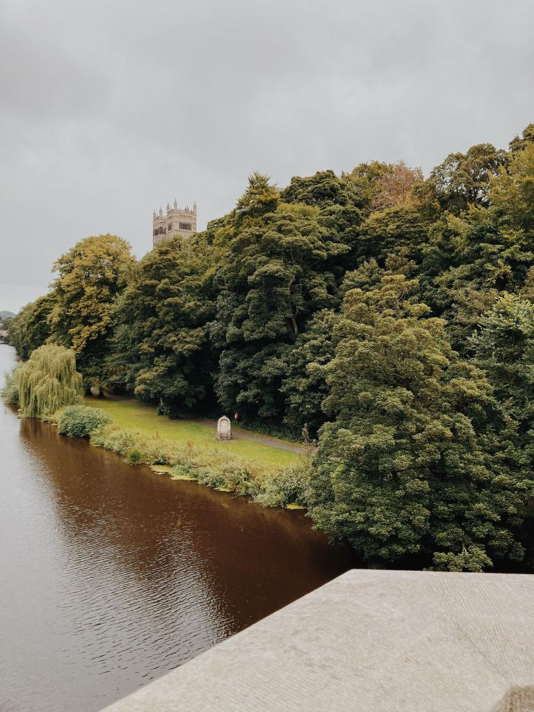 View of Durham Cathedral and river bank from Prebends Bridge